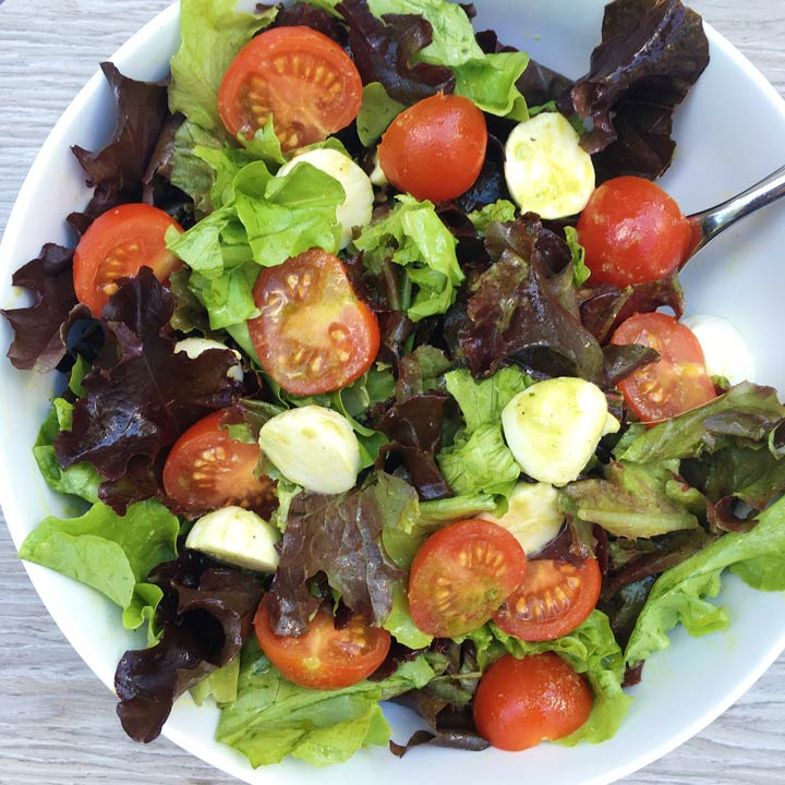 Caprese salad greens basil vinaigrette easy summer salad gluten-free www.healthygffamily.com