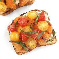 grilled apricot and tomato toast