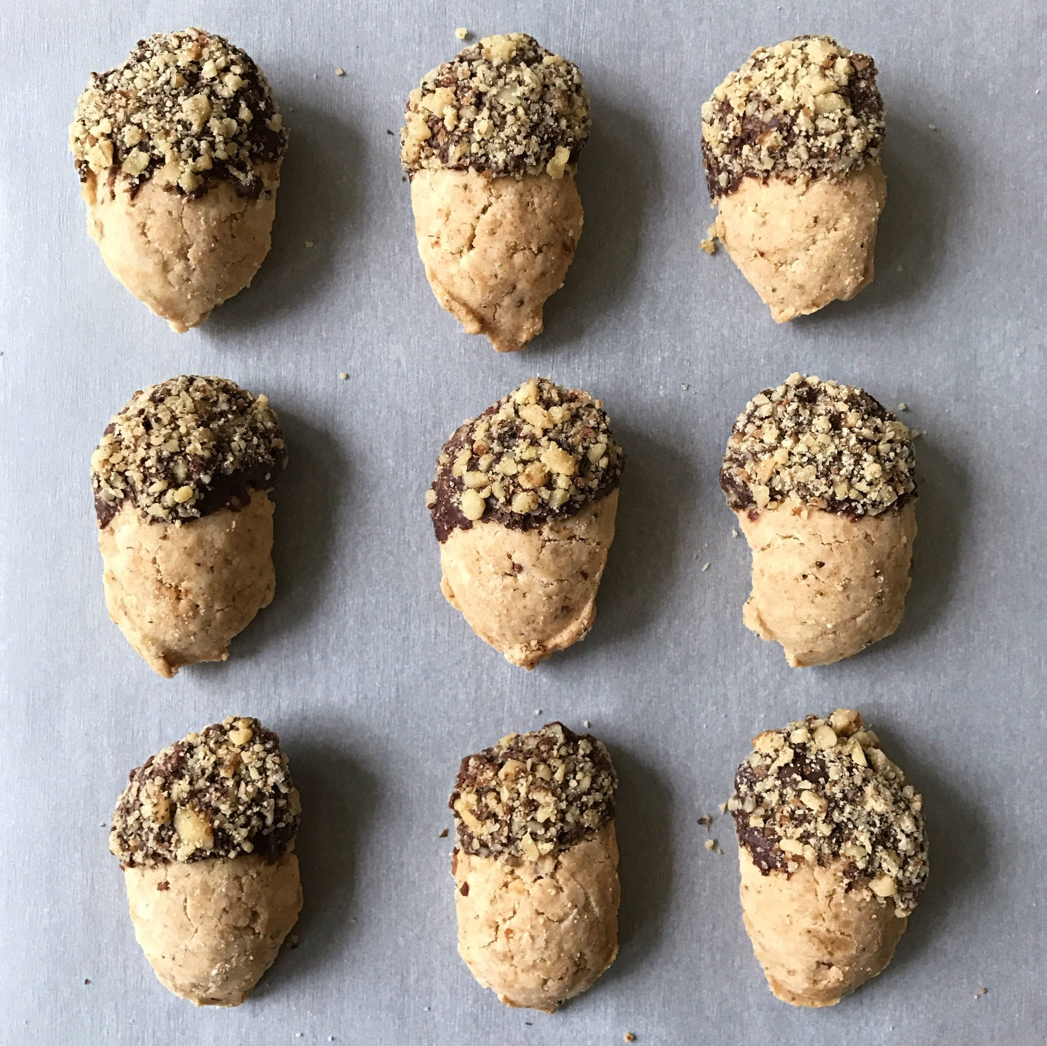 chocolate dipped walnut acorn cookies gluten free #glutenfreerecipes www.healthygffamily.com