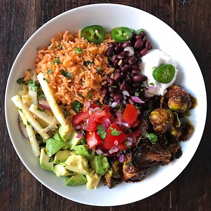 fiesta bowl mexican rice pineapple glazed brussels sprouts gluten free #glutenfreerecipes www.healthygffamily.com