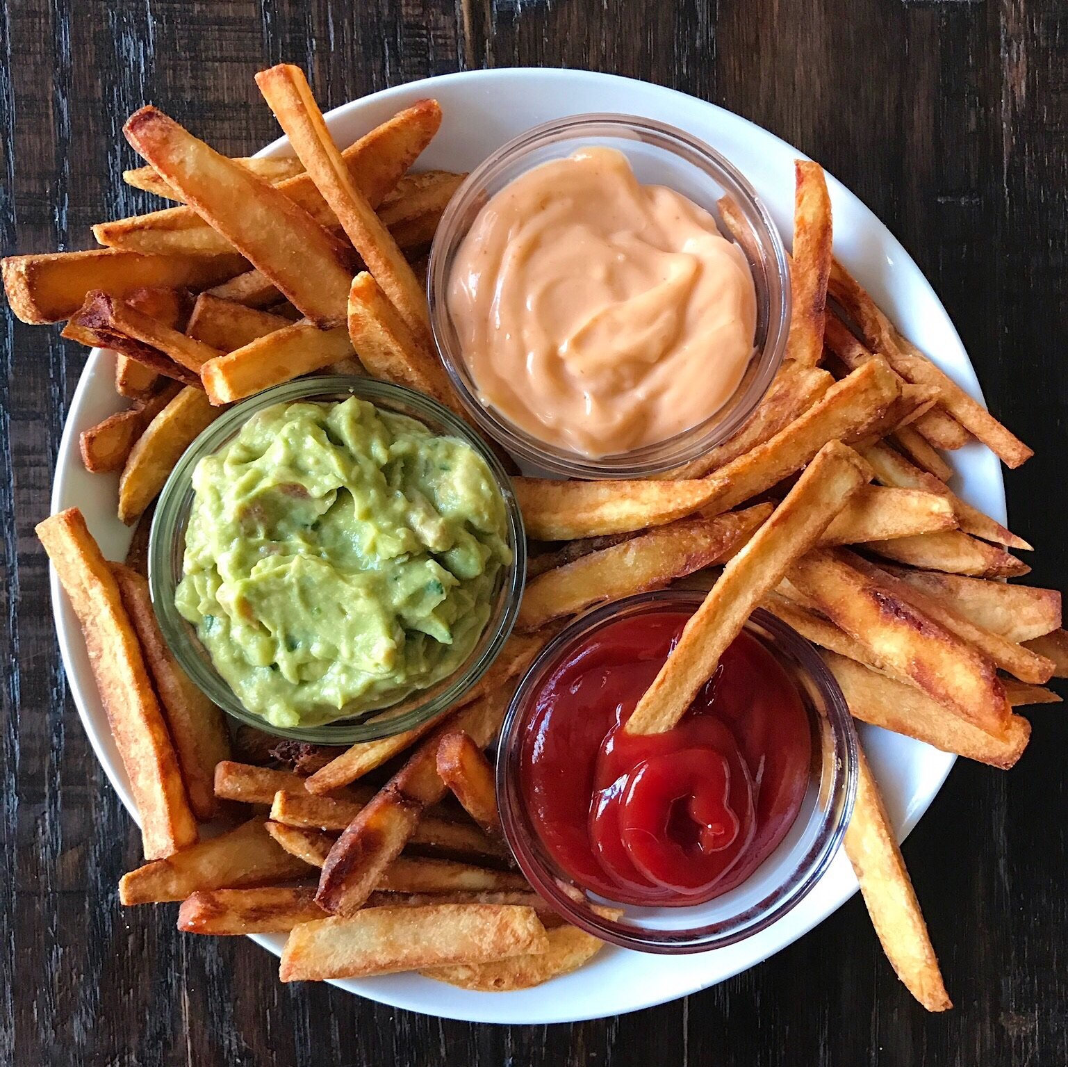 potato fries with dipping sauces