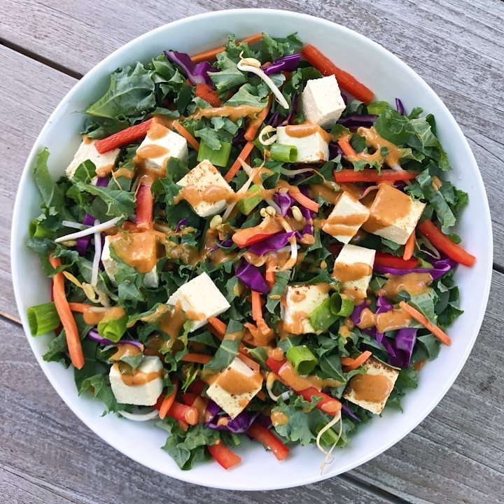 thai rainbow salad with peanut dressing gluten-free