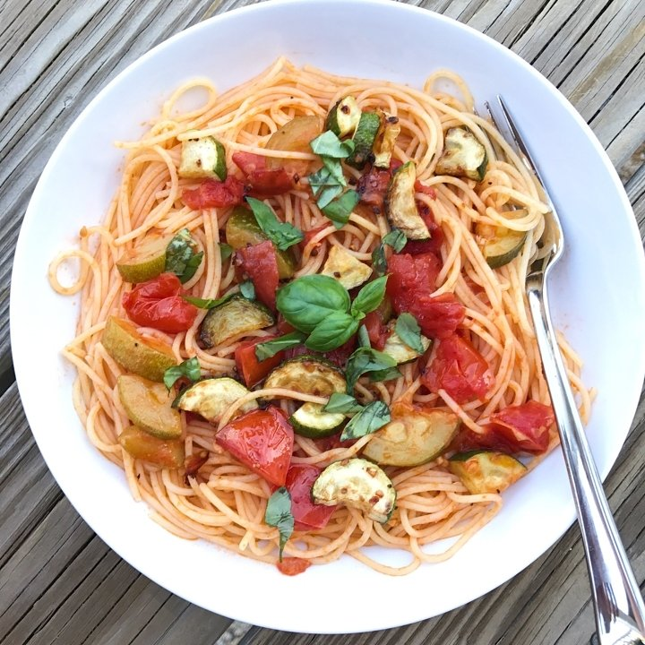 sauteed zucchini tomatoes gluten-free spaghetti