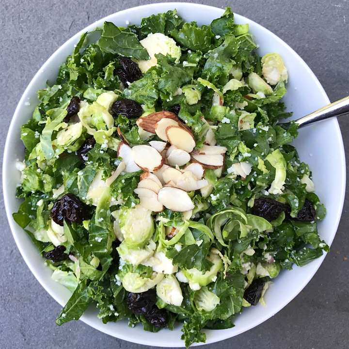 shaved brussels sprouts and Kale salad lemony dijon vinaigrette #glutenfree #glutenfreerecipes www.healthygffamily.com