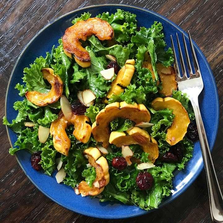gluten free harvest salad kale delicata squash #glutenfree #glutenfreerecipes www.healthygffamily.com