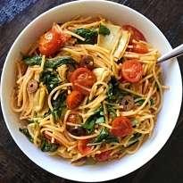Mediterranean Veggie pasta gluten free #glutenfreerecipes www.healthygffamily.com