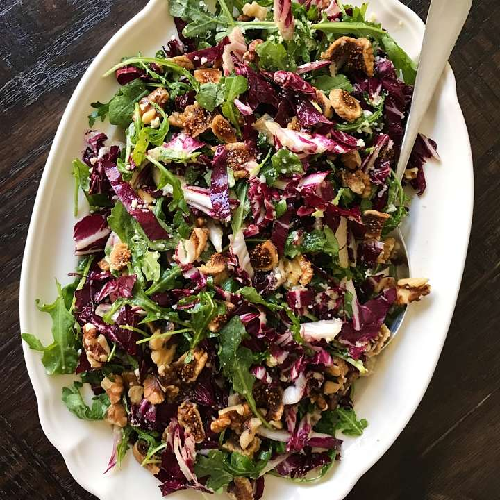 Radicchio arugula salad dried figs honey lemon dressing #glutenfreerecipes www.healthygffamily.com