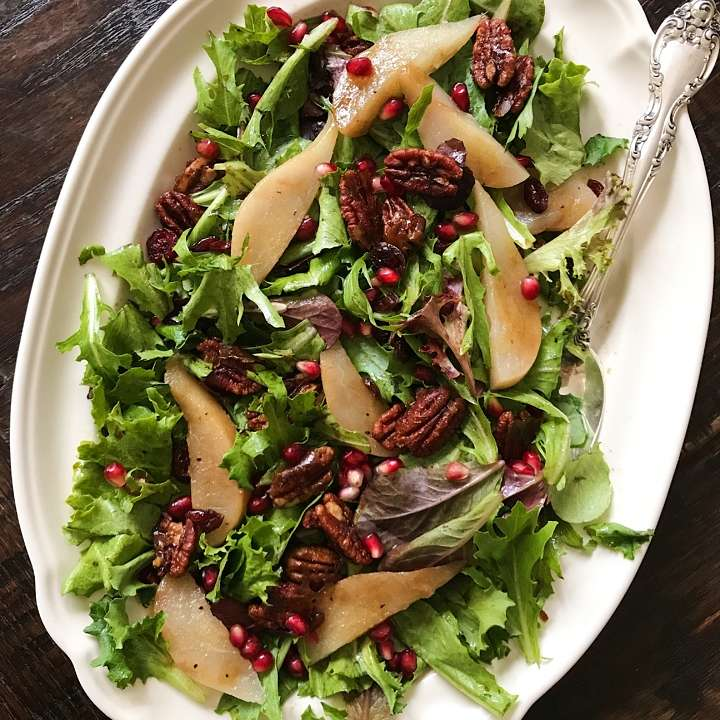 poached pear salad candied pecans pomegranate #glutenfreerecipes www.healthygffamily.com
