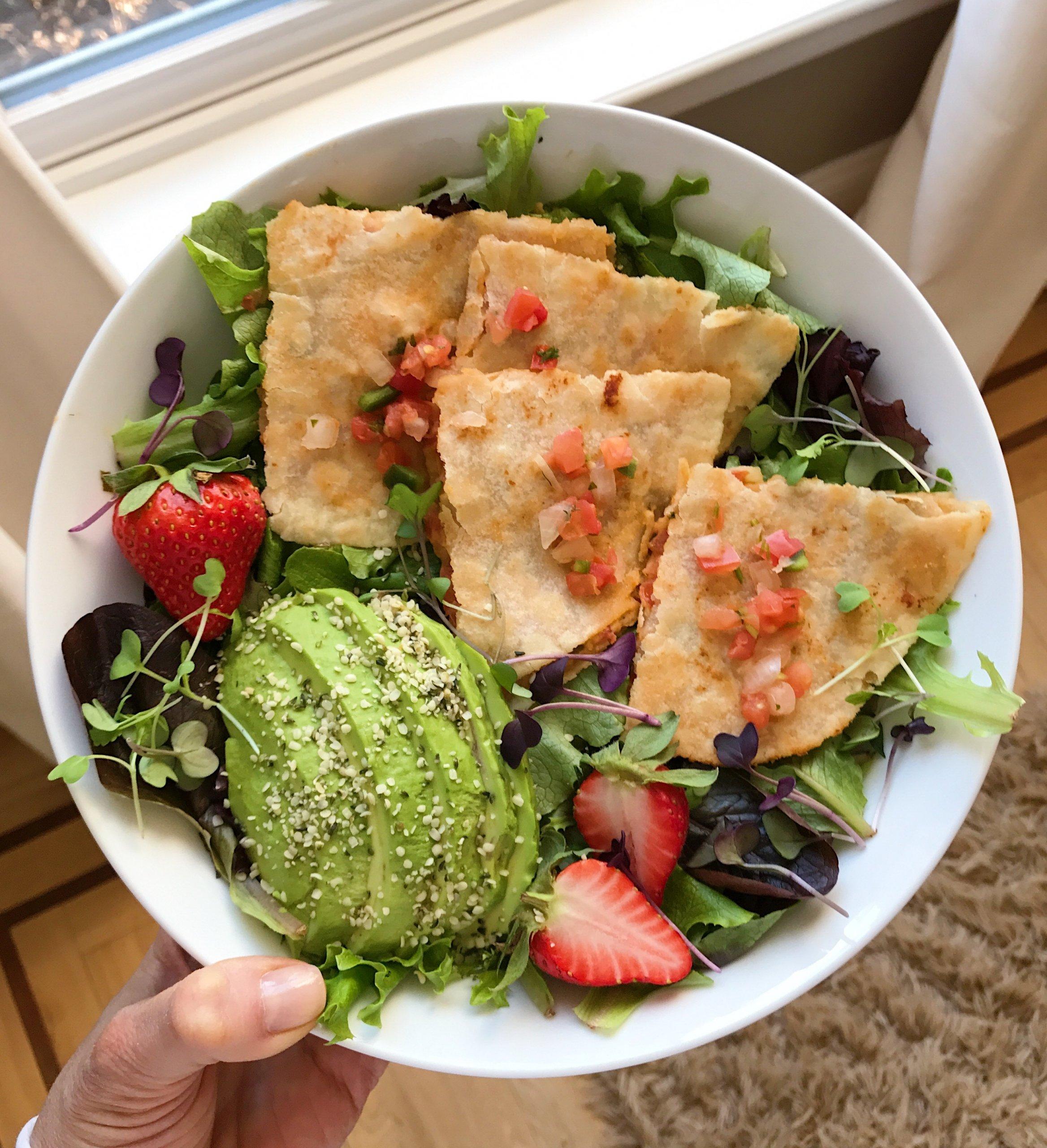 Red Pepper Hummus Salsa quesadilla gluten-free #glutenfree www.healthygffamily.com