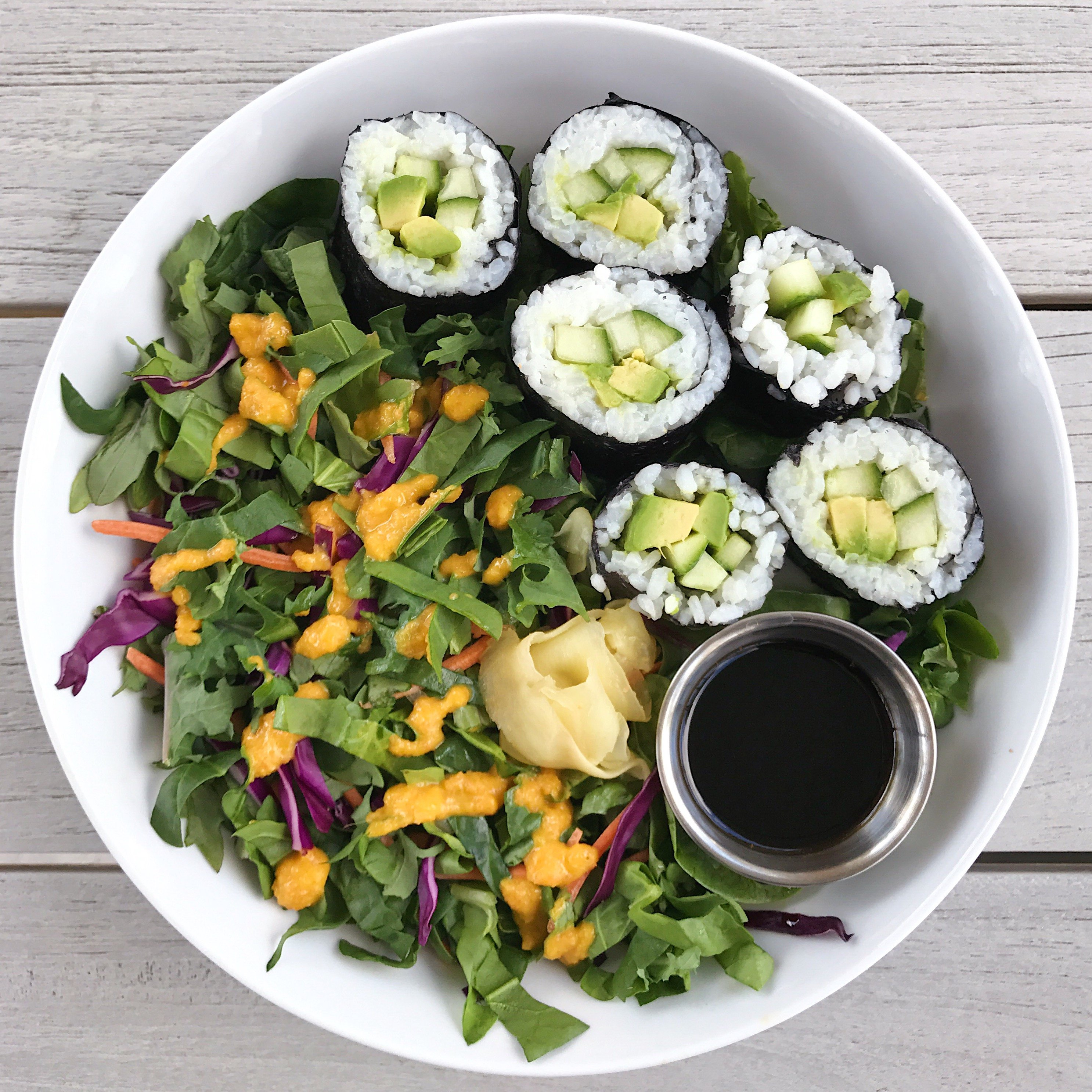 homemade sushi and miso ginger dressing gluten free #glutenfreerecipes www.healthygffamily.com