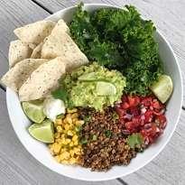 gluten-free lentil walnut taco bowl