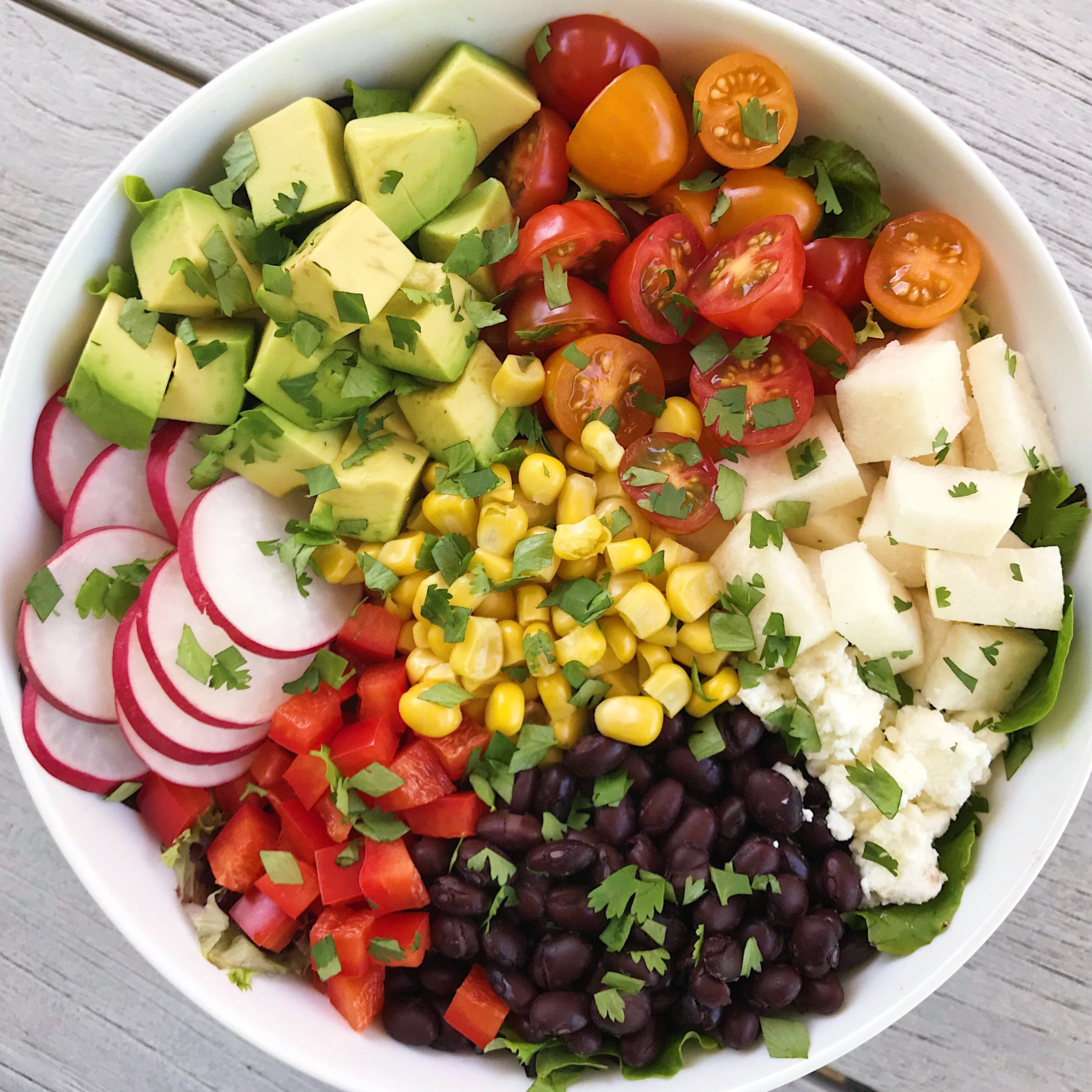 mexican chopped salad with honey lime dressing #glutenfree #glutenfreerecipes www.healthygffamily.com