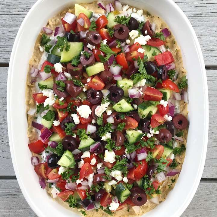 7 layer Greek Hummus Dip gluten free #glutenfreerecipes www.healthygffamily.com