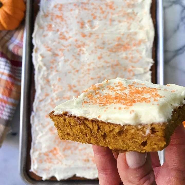 gluten free pumpkin sheet cake #glutenfree #glutenfreerecipes www.healthygffamily.com