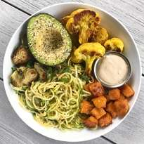 zoodle bowl with roasted veggies and tahini sauce #glutenfree #glutenfreerecipes www.healthygffamily.com