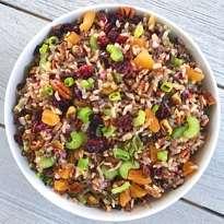 gluten free wild rice salad with cranberries and pecans #glutenfree #glutenfreerecipes www.healthygffamily.com