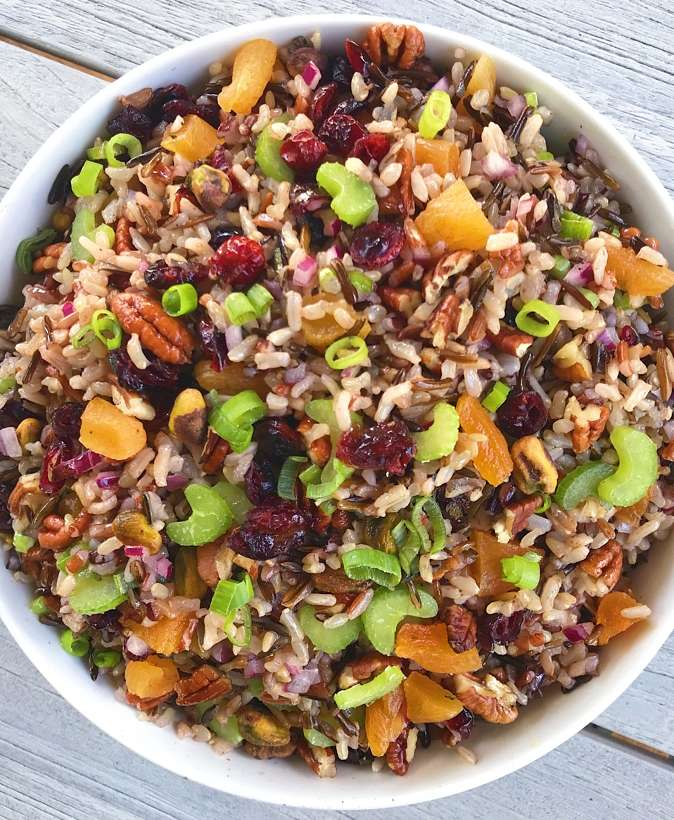 gluten free wild rice salad with cranberries and pecans #glutenfree #glutenfreerecipes www.healthygffamily.com