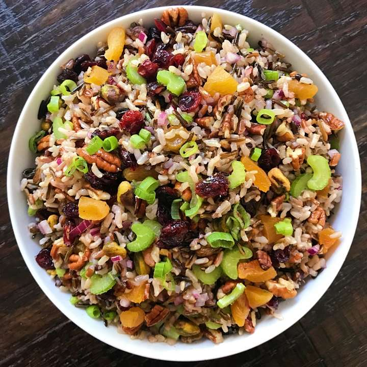 gluten free wild rice salad cranberries pecans #glutenfreerecipes www.healthygffamily.com