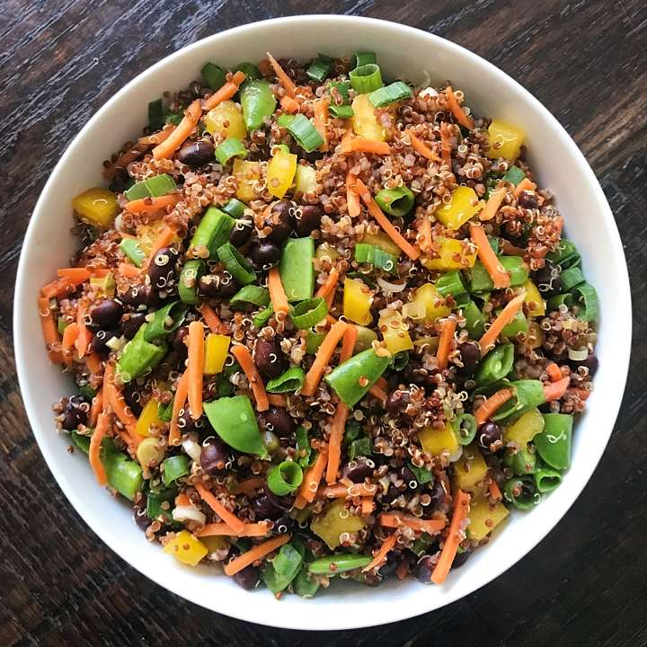quinoa salad sesame lime miso vinaigrette gluten free #glutenfreerecipes www.healthygffamily.com