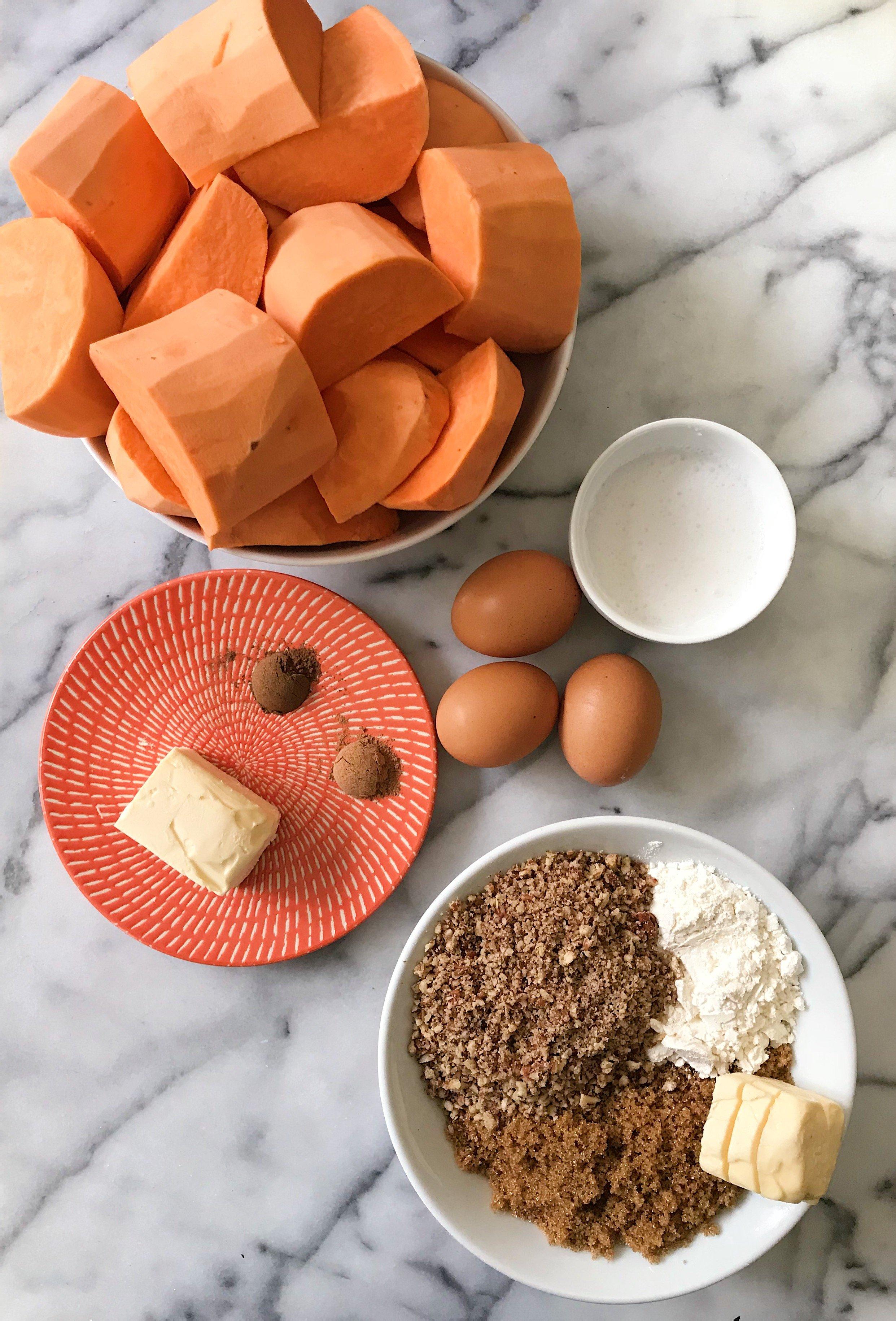 gluten free sweet potato casserole with pecan crumble #glutenfreerecipes www.healthygffamily.com