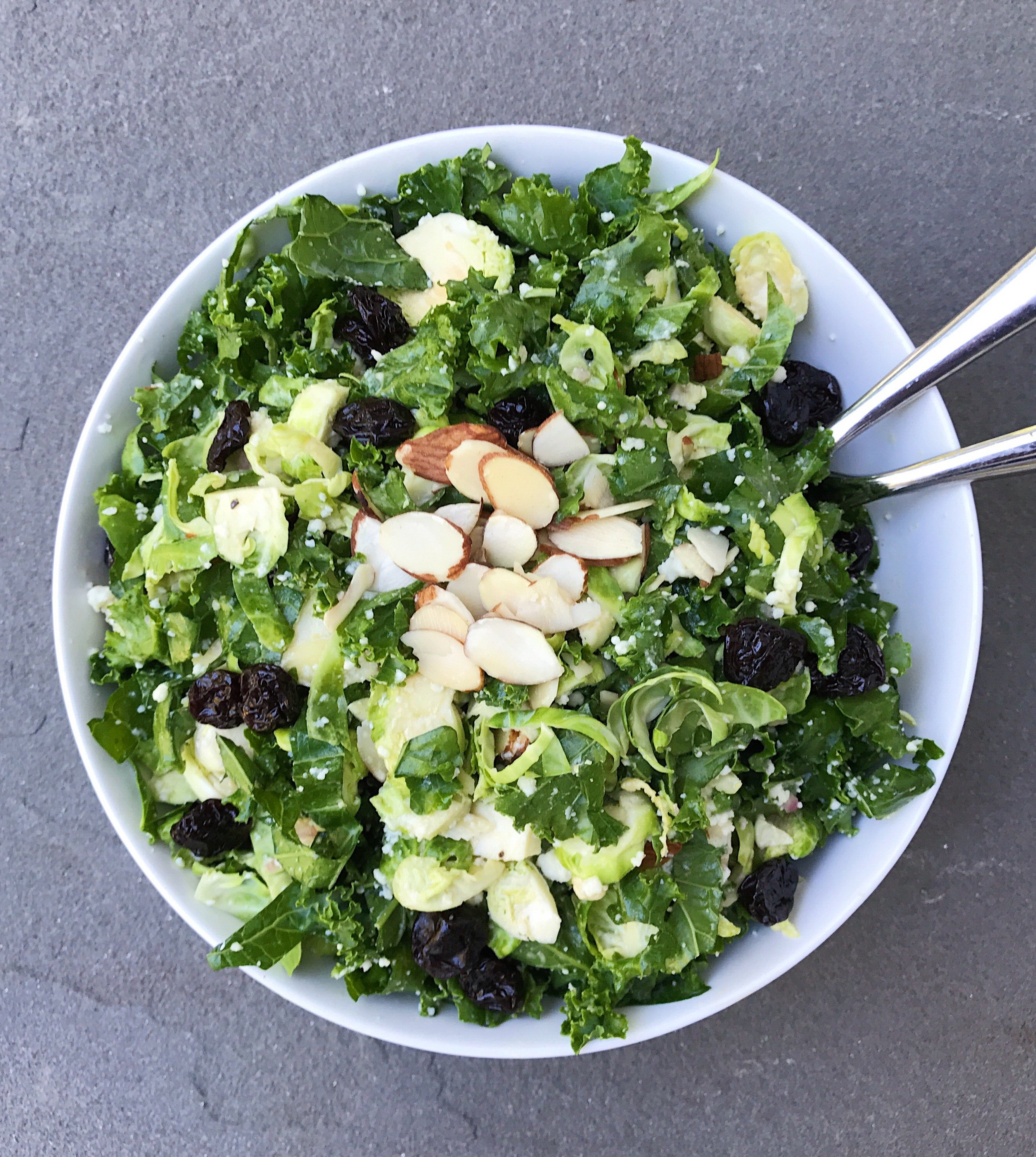 shaved brussels sprout and Kale salad lemony dijon vinaigrette #glutenfree #glutenfreerecipes www.healthygffamily.com