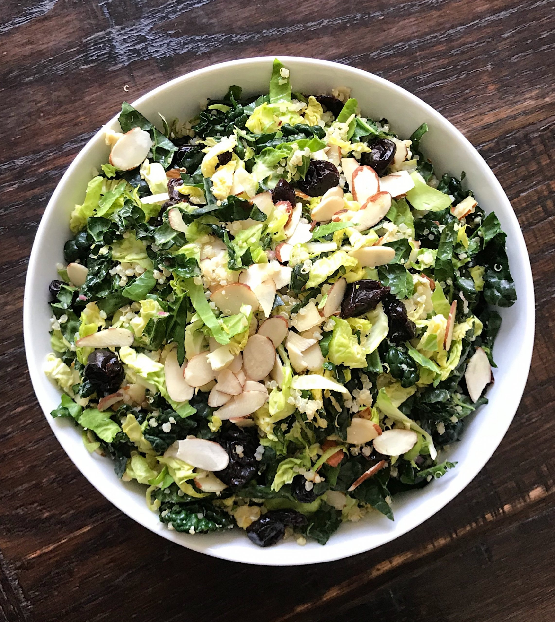 shaved brussels sprouts and Kale quinoa salad lemony dijon vinaigrette gluten free #glutenfreerecipes www.healthygffamily.com