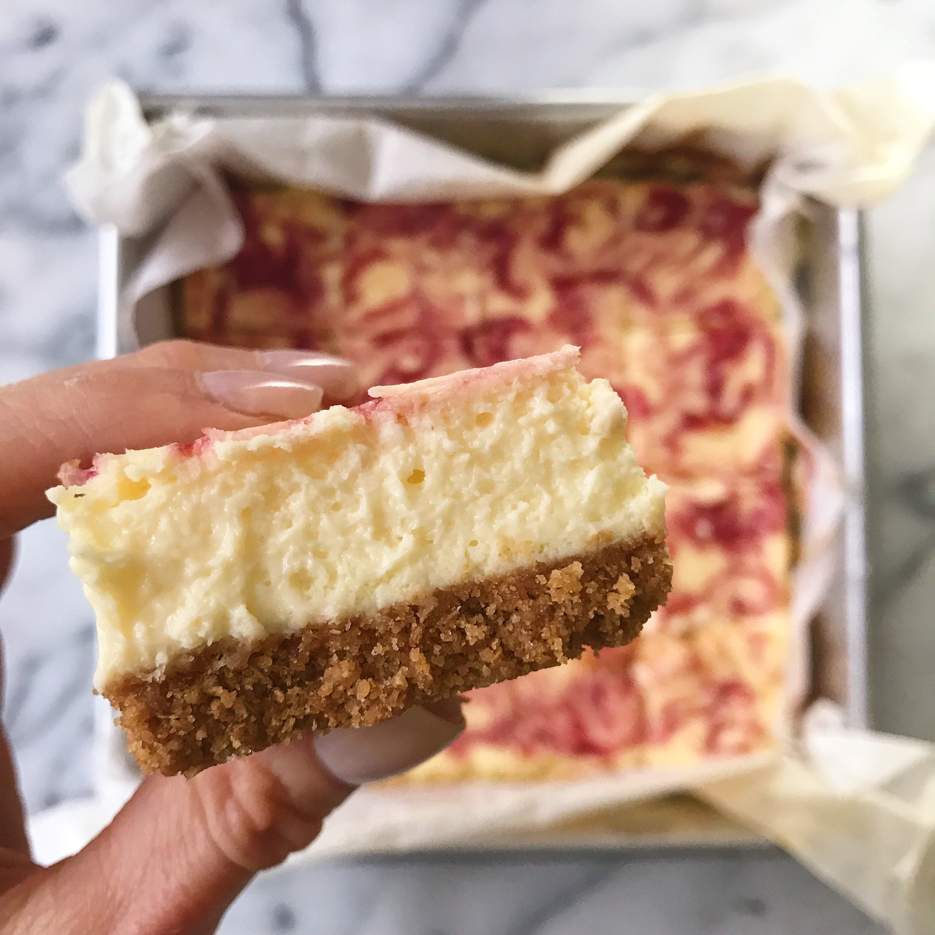 Lemony Cheesecake squares raspberry swirl gluten free #glutenfreerecipes www.healthygffamily.com