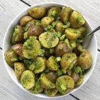 gluten free herbed mayo less potato salad #glutenfreerecipes www.healthygffamily.com