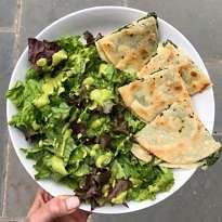 swiss chard quesadilla green goddess dressing gluten free #glutenfreerecipes www.healthygffamily.com