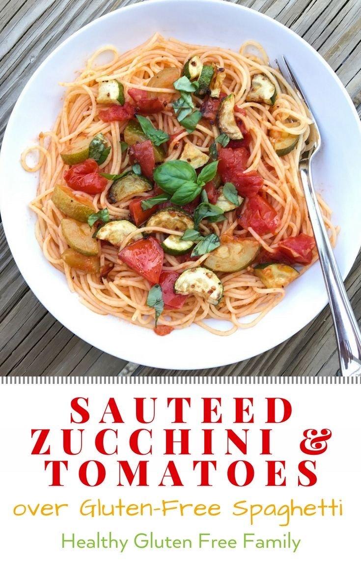 gluten free spaghetti with zucchini and tomatoes #glutenfree #glutenfreerecipes gluten-free pasta www.healthygffamily.com