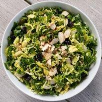 shaved brussels sprout and Kale salad lemony dijon vinaigrette #glutenfree #glutenfreerecipes www.healthygffamily.com