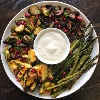 Gluten-Free Holiday Roasted Vegetable Platter with lemony tahini sauce #glutenfree #glutenfreerecipes www.healthygffamily.com