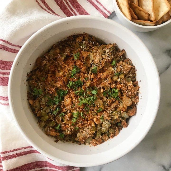 baked clams oreganata dip gluten-free #glutenfreerecipes www.healthygffamily.com