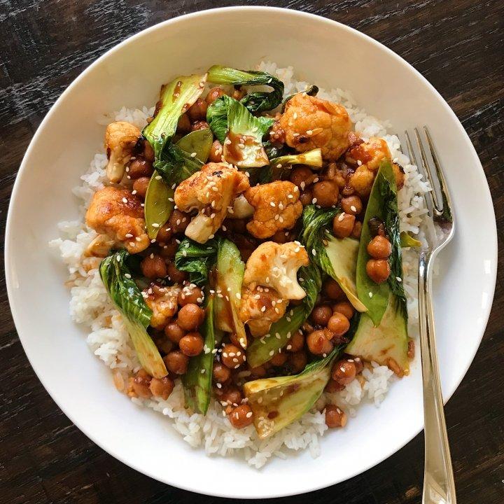 general tso's chickpeas veggies gluten free #glutenfreerecipes www.healthygffamily.com