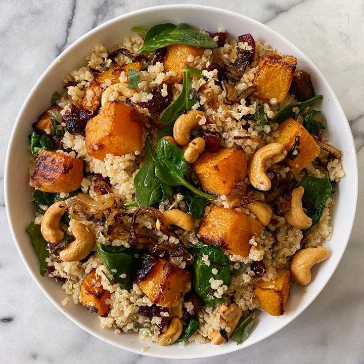 Winter Quinoa Salad gluten free squash warm #glutenfreerecipes www.healthygffamily.com