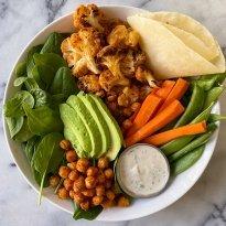 buffalo cauliflower burrito bowl chickpeas gluten free #glutenfreerecipes www.healthygffamily.com