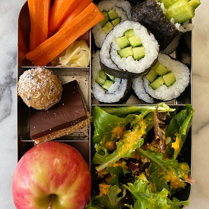 Packed lunch Homemade veggie sushi miso ginger dressing gluten free #glutenfreereicpes www.healthygffamily.com