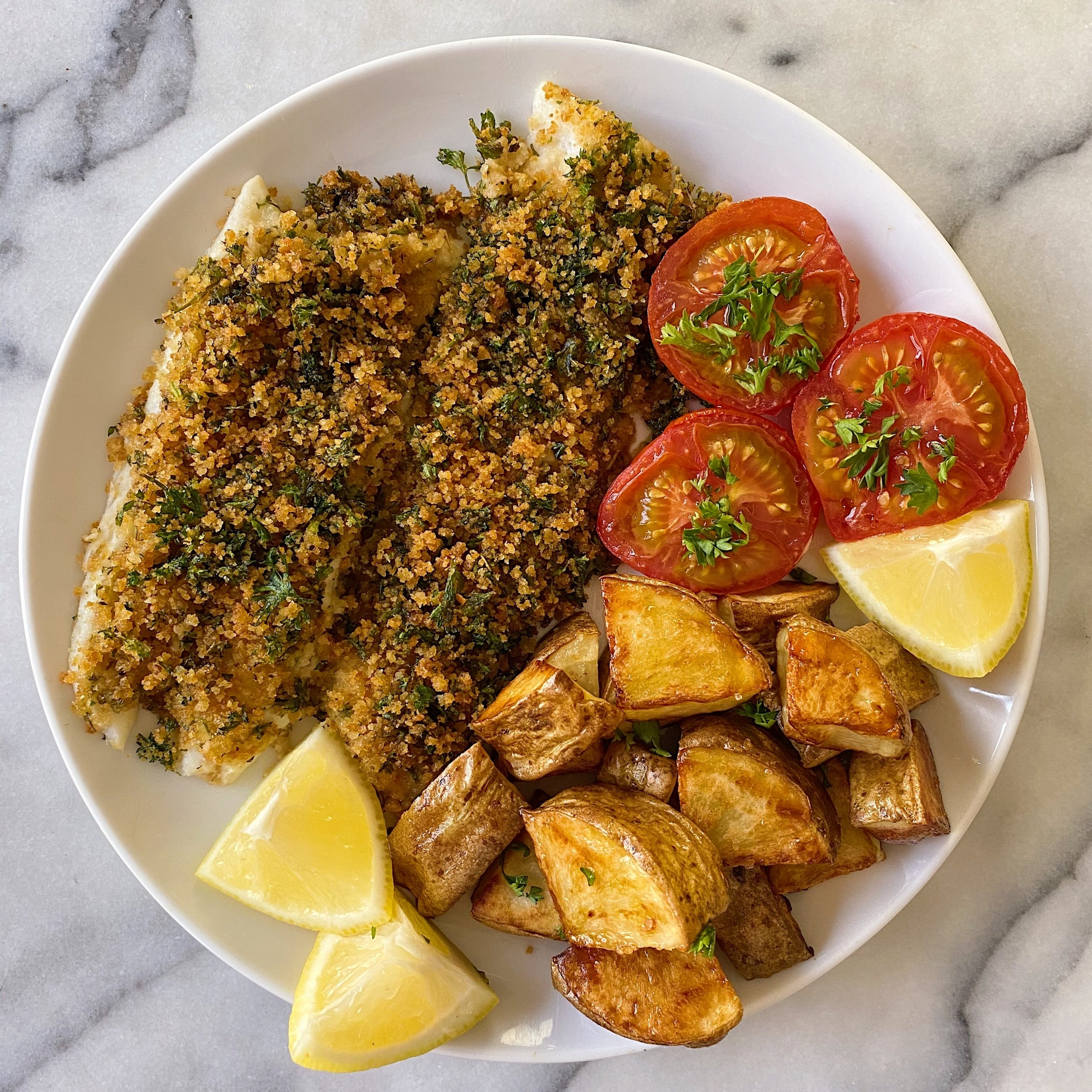 Baked Fish lemon herbed breadcrumbs gluten free #glutenfreerecipes www.healthygffamily.com