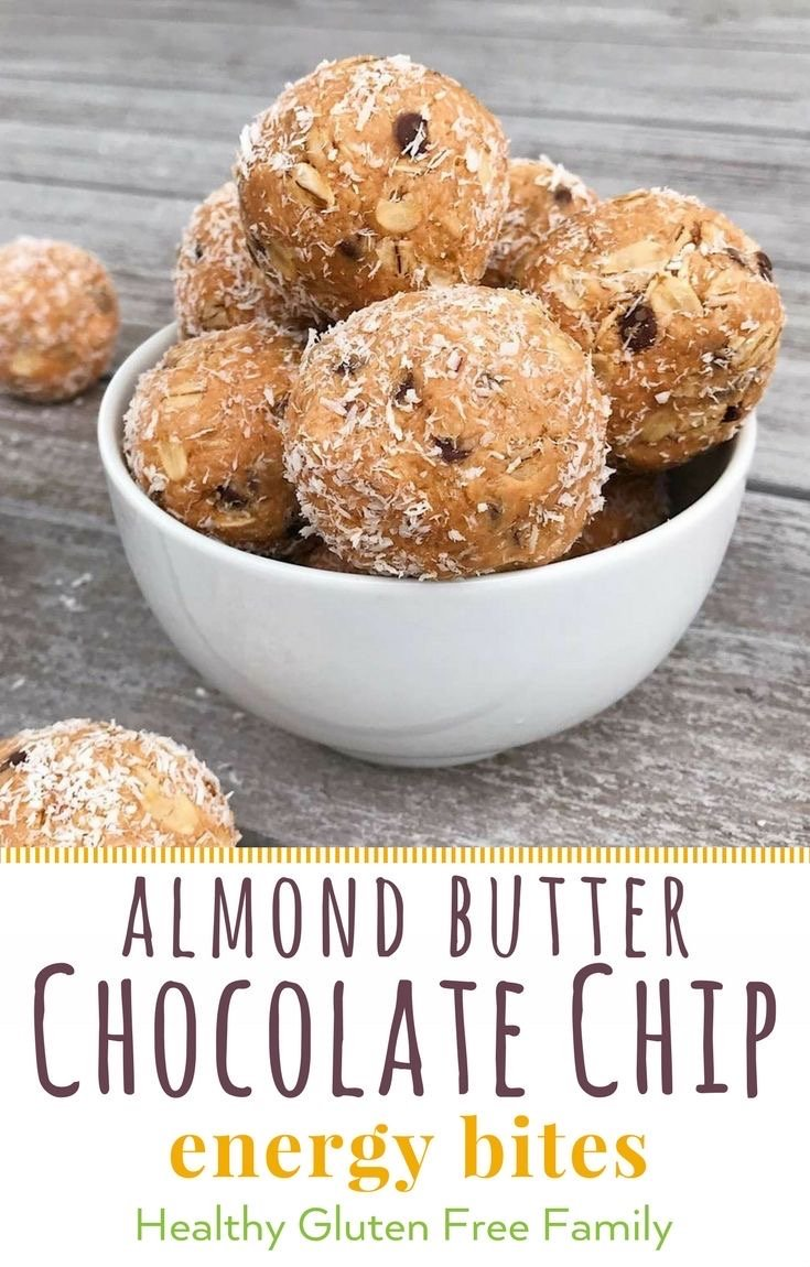 almond butter chocolate chip energy bites gluten free vegan #glutenfreerecipes www.healthygffamily.com