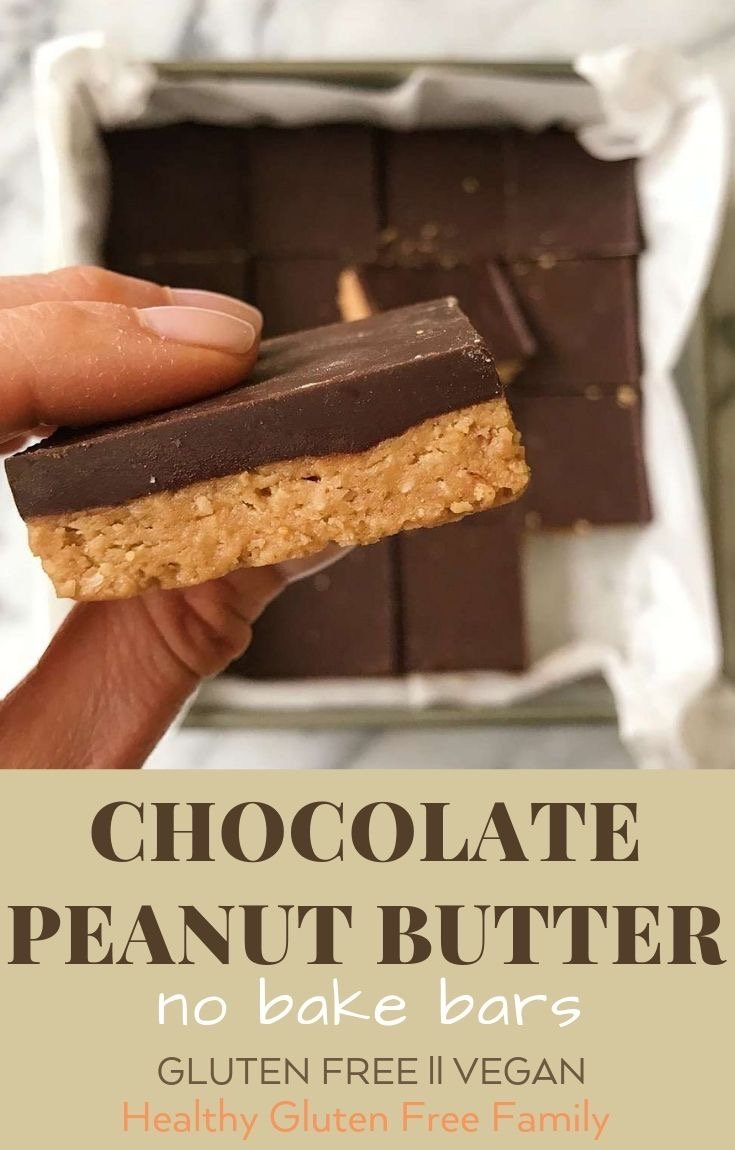 chocolate peanut butter no bake bars gluten free vegan #glutenfree www.healthygffamily.com