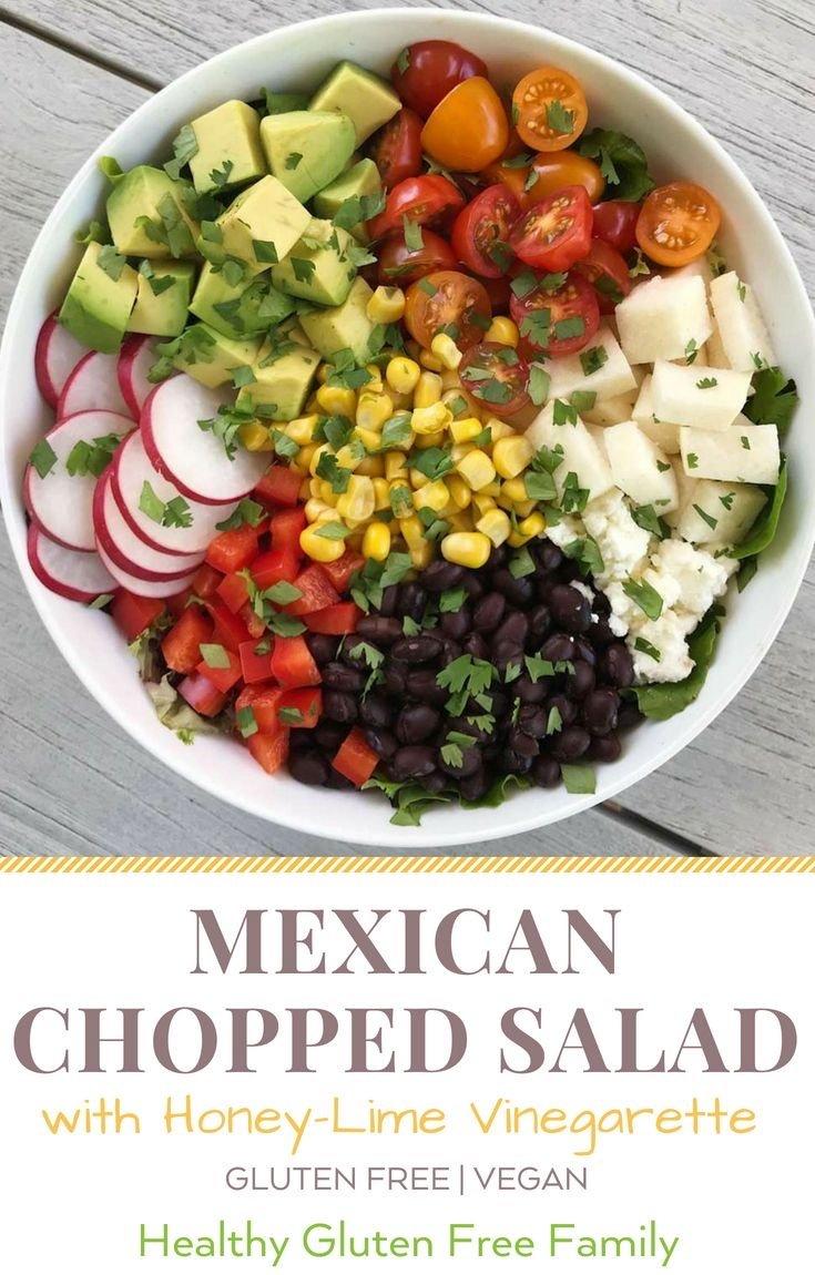 mexican chopped salad with honey lime dressing #glutenfree #glutenfreerecipes www.healthygffamily.com