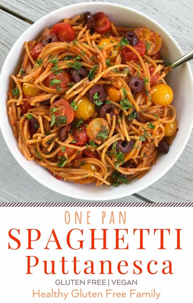 gluten free one pan spaghetti puttanesca #glutenfree #glutenfreerecipes www.heatlhygffamily.com