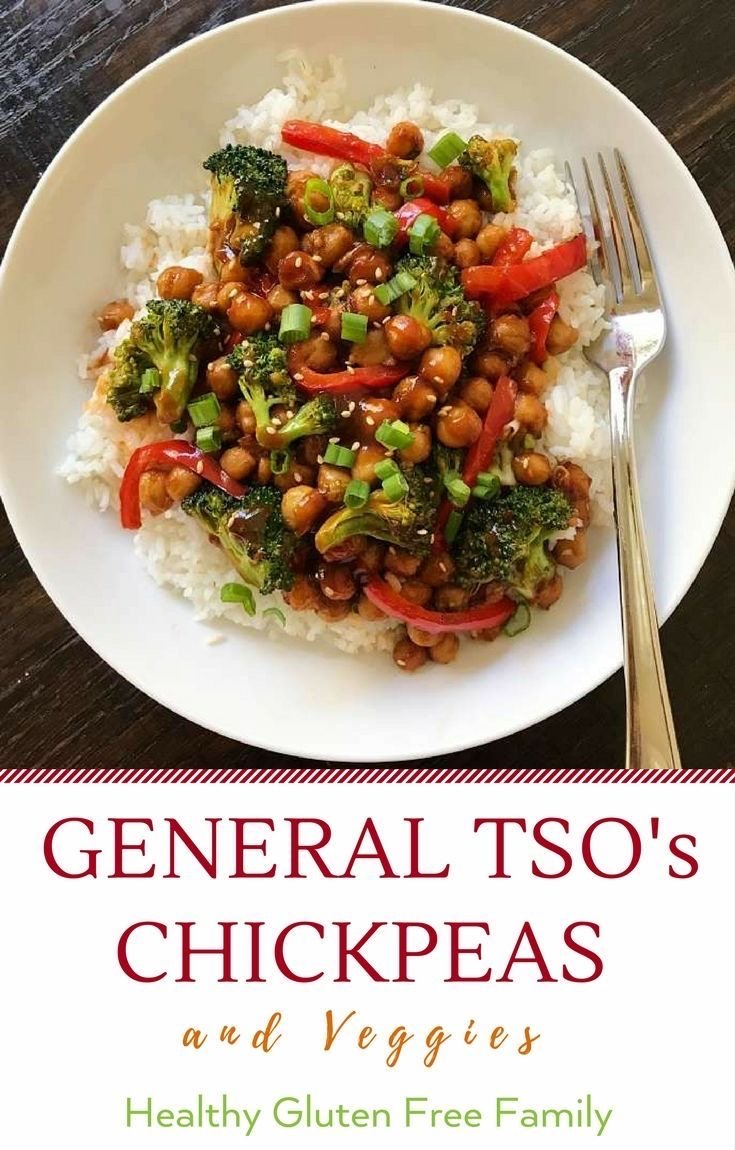 gluten free stir fry general tso's chickpeas and veggies #glutenfree #glutenfreerecipes www.healthygffamily.com