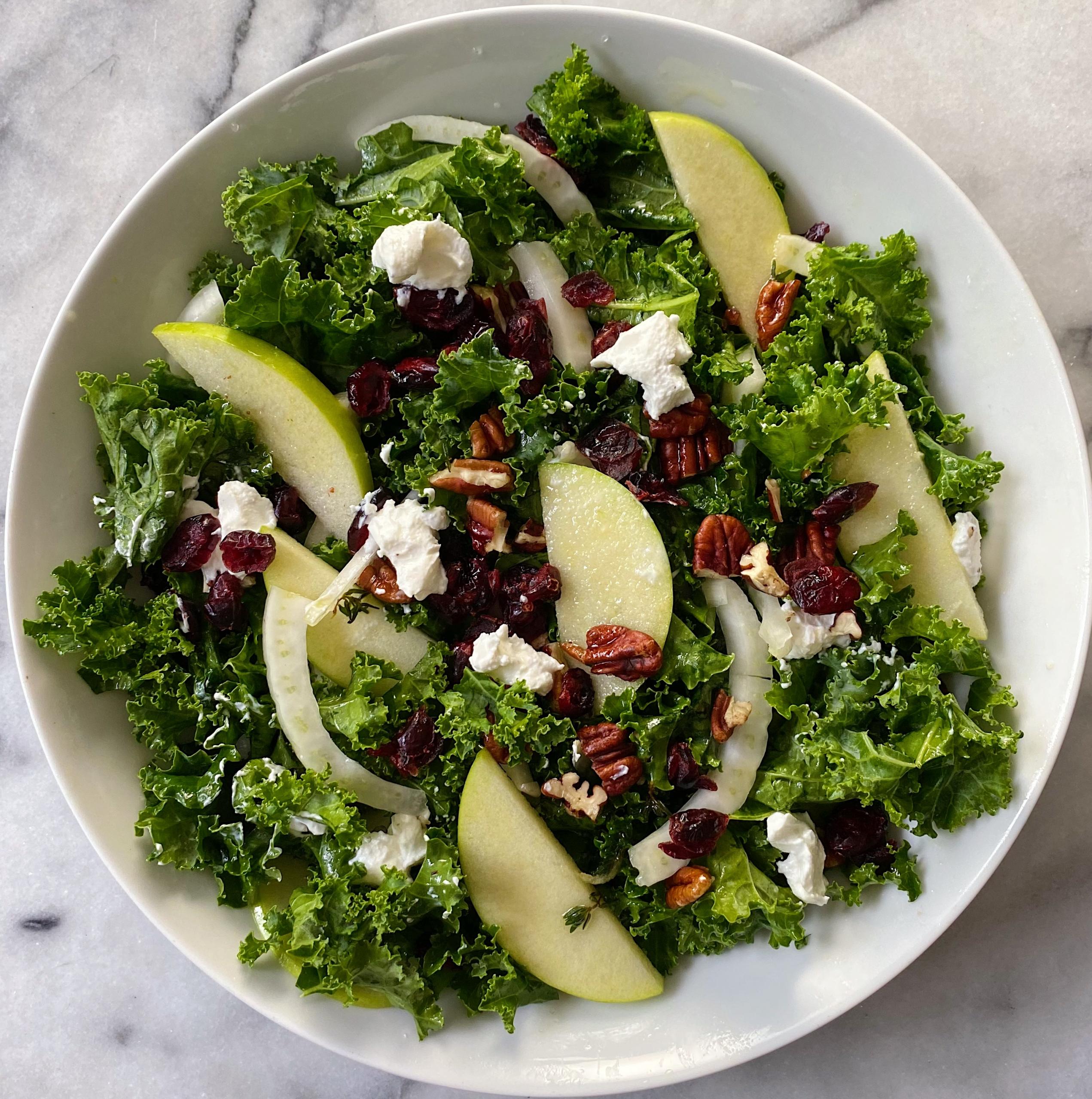 Kale Salad cranberries pecans goat cheese gluten free #glutenfreerecipes www.healthygffamily.com