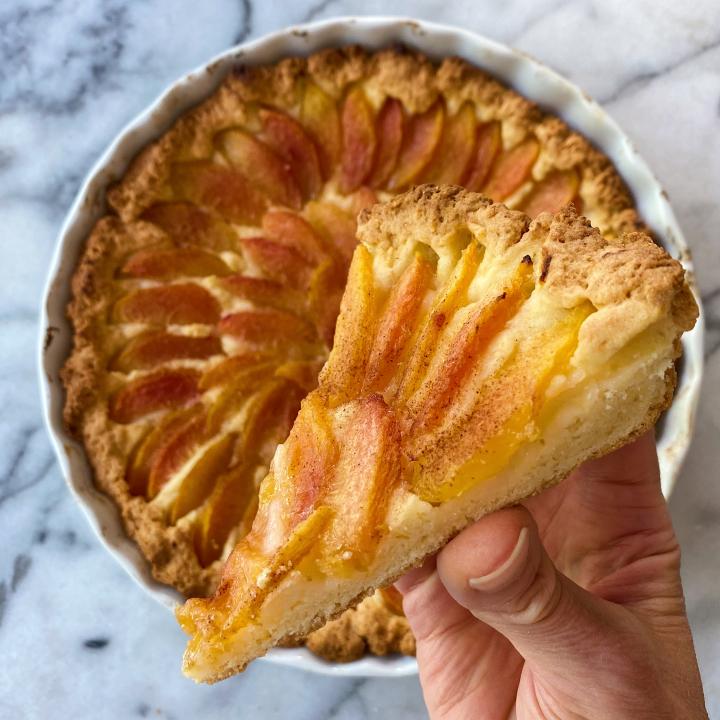 peach cake gluten free easy www.healthygffamily.com