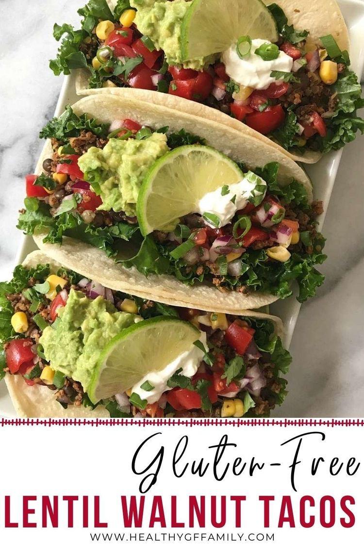 lentil walnut tacos gluten free vegan #glutenfreerecipes www.healthygffamily.com