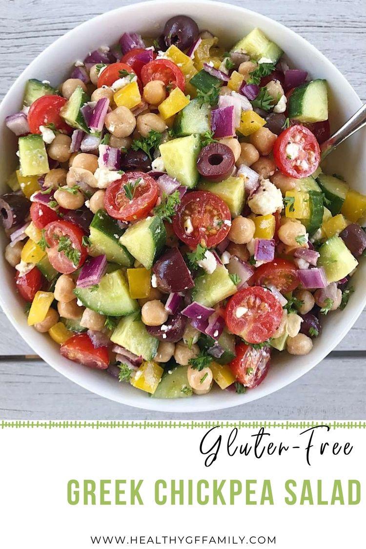 Greek Chickpea Salad easy gluten free www.healthygffamily.com