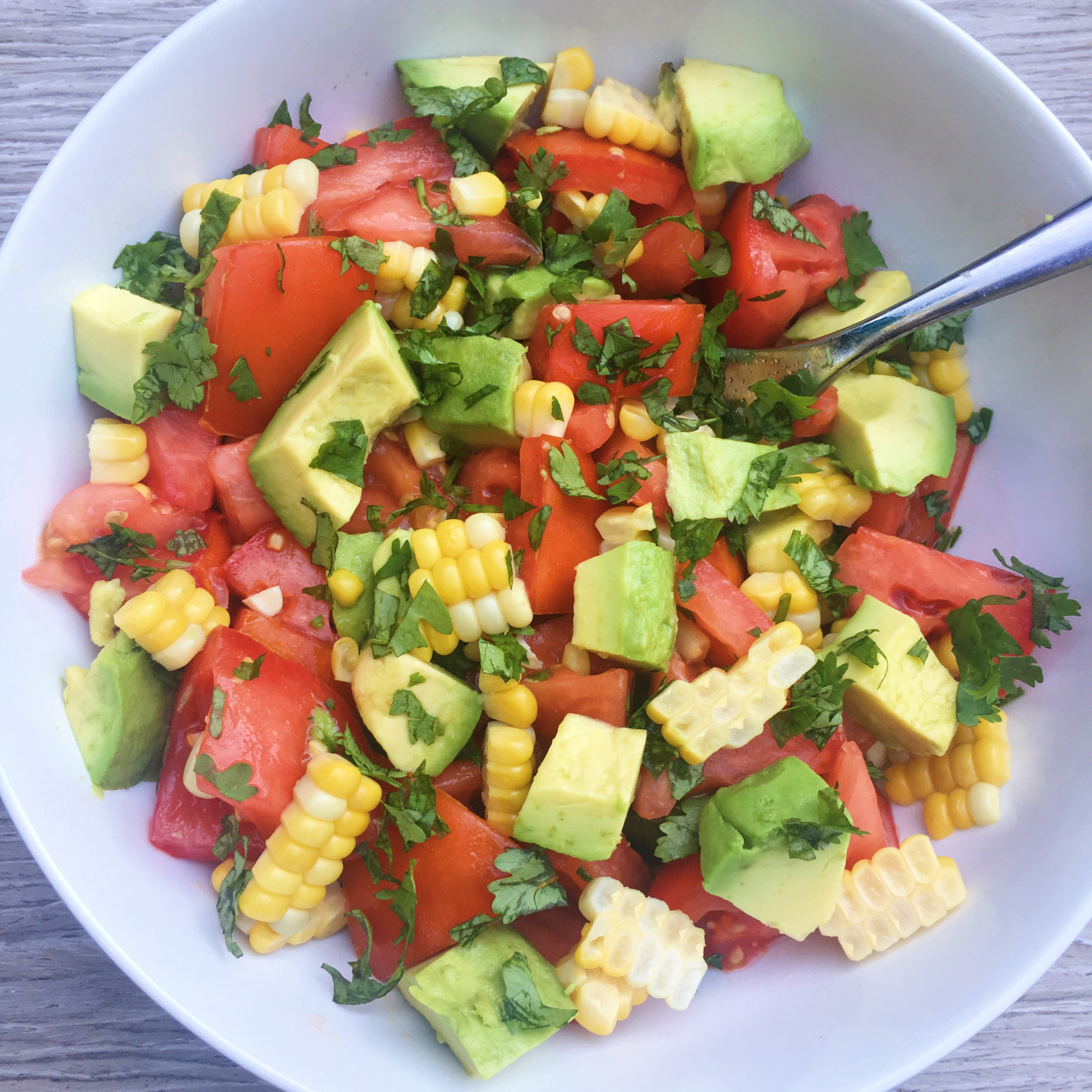 Tomato Corn & Avocado Salad gluten free easy www.healthygffamily.com
