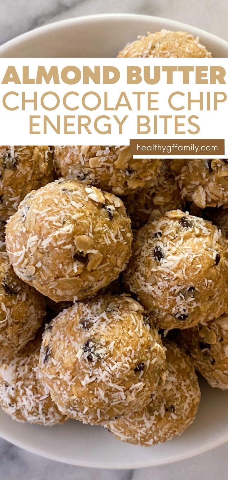 almond butter chocolate chip energy bites gluten free vegan #glutenfreerecipes www.healthygffamily.com