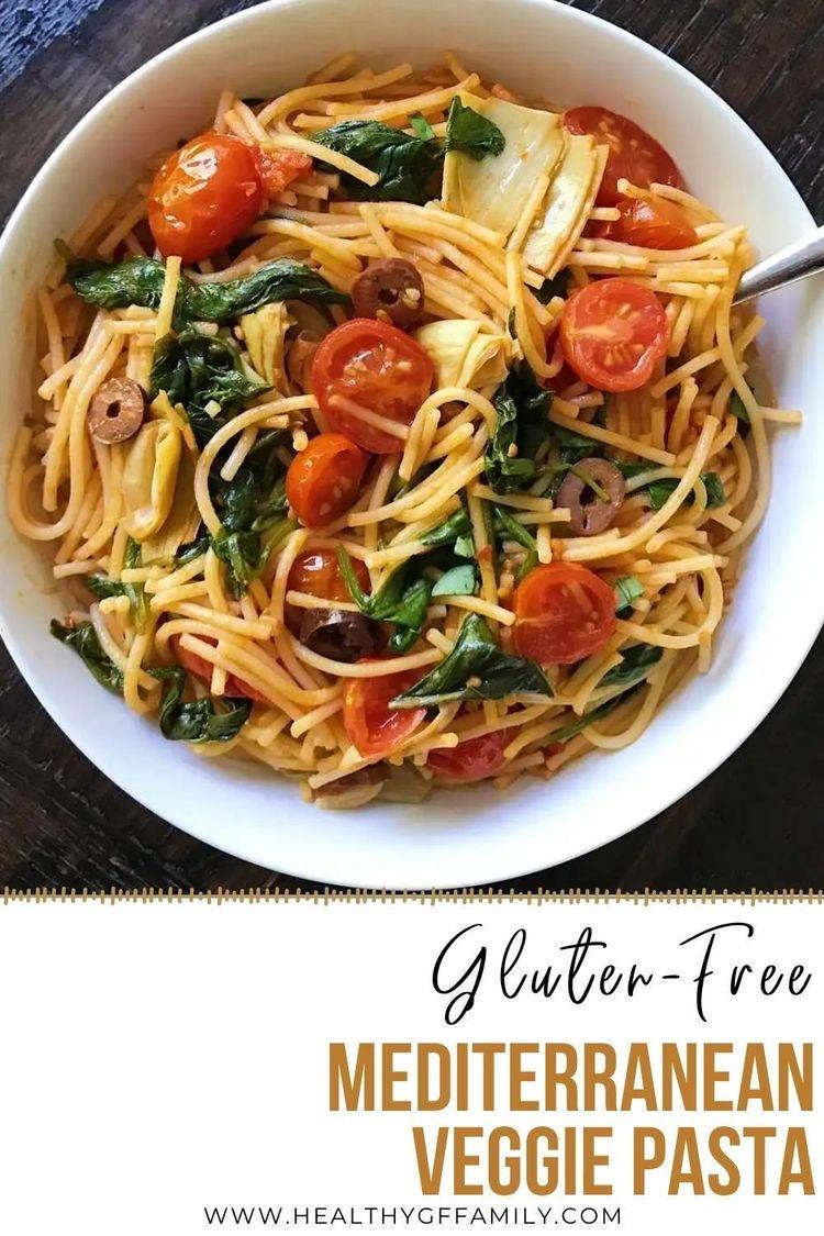 mediterranean veggie pasta gluten free #gltenfrerecipes www.healthygffamily.com